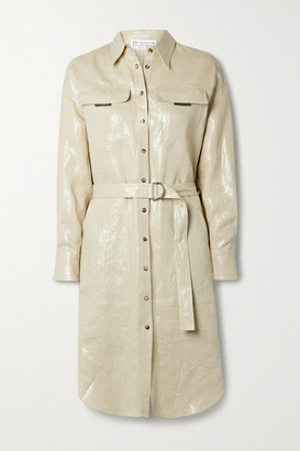 Brunello Cucinelli Belted Metallic Linen Shirt Dress - Beige
