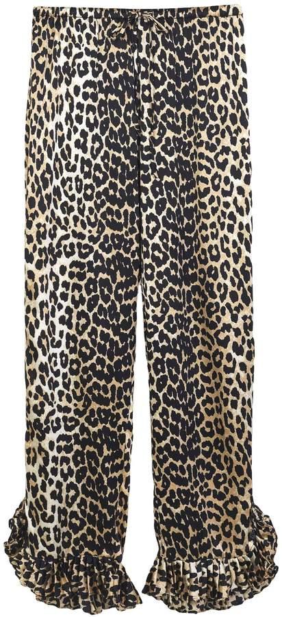 Ganni Calla Silk Pant in Leopard