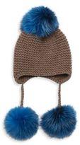 Inverni Triple Pom Knit Cashmere & Fox Fur Beanie