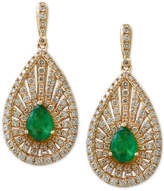 Effy Final Call Emerald (1-1/8 ct. t.w.) and Diamond (1-3/8 ct. t.w.) Teardrop Drop Earrings in 14k Gold