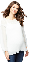A Pea in the Pod Pleated Lace Detail Maternity Blouse
