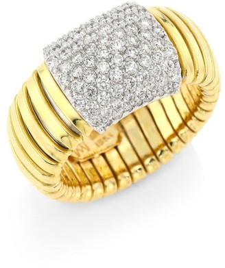 Bagutta Via 18K Gold & Diamond Coiled Rectangle Ring
