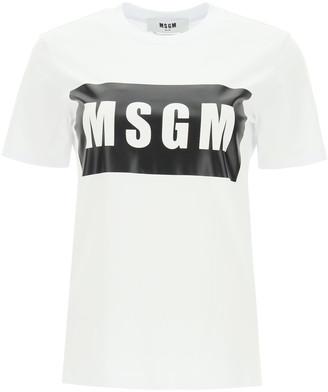 MSGM BOX LOGO PRINT T-SHIRT L White, Black Cotton