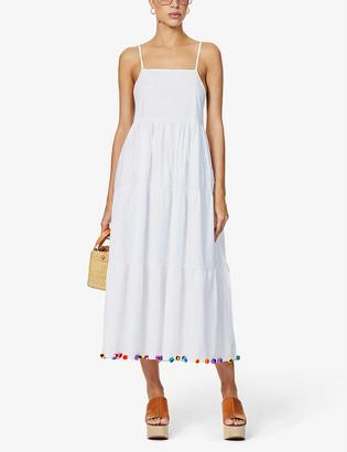 Pitusa Popelina pom-pom stretch-cotton poplin maxi dress