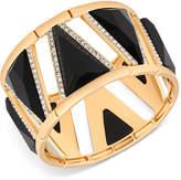 GUESS Gold-Tone Pave & Black Stone Stretch Bracelet