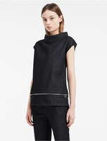 Calvin Klein Platinum Dark Denim Mock Neck Top