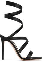 Gianvito Rossi Opera Satin Sandals - Black