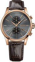 HUGO BOSS Jet Rose Goldtone Stainless Steel and Brown Leather Strap Chronograph