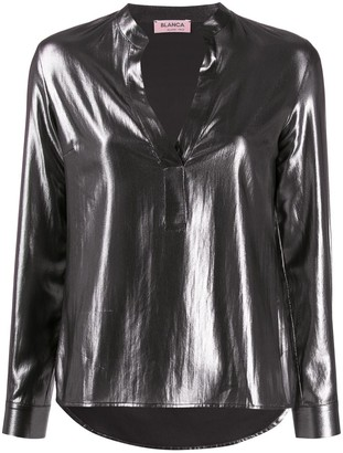 Blanca Vita metallic long sleeve blouse
