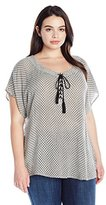 NY Collection Women's Plus Size Printed Cap Sleeve Top with Hi Low Hem with Lace up Neck Line