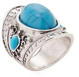 Simulated Turquoise Crest Statement Ring