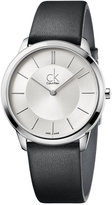 Calvin Klein minimal Men's Swiss Minimal Black Leather Strap Watch 40mm K3M211C6
