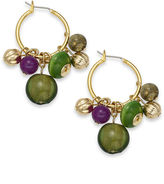 Style&Co. Earrings, Gold-Tone Green and Purple Cluster Hoop Earrings