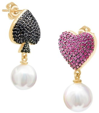GABIRIELLE JEWELRY 22K Gold Vermeil, Mother-of-Pearl Cubic Zirconia Ace Of Hearts Mismatched Drop Earrings