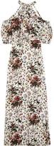 Erdem Annaliese Cold-shoulder Floral-print Silk Crepe De Chine Gown - White