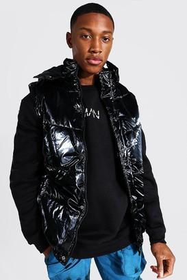 boohoo Mens Black MAN Official High Shine Hooded Gilet, Black