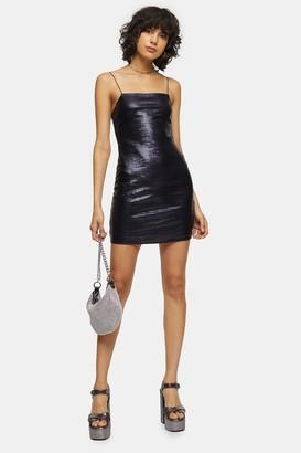 Topshop Womens Holographic Bodycon Mini Dress - Black