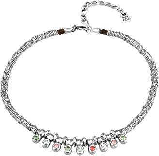 Uno de 50 Jungle Love Bezel Set Rainbow Crystal Fringe Collar Necklace
