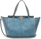 Valentino Rockstud suede and leather tote