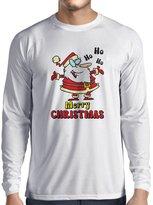 lepni.me Long sleeve t shirt men Dancing Santa Claus Christmas vacation shirt