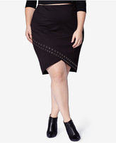mblm by Tess Holliday Trendy Plus Size Grommet High-Low Pencil Skirt