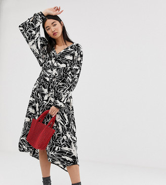 Weekday oversized smock midi dress in black/white forest print