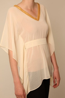 Little Mistress Nude Kimono Top with Gold Sequin Trim