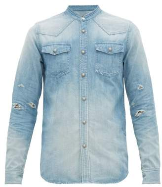 Balmain Logo Print Distressed Cotton Chambray Shirt - Mens - Blue