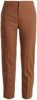 Chloé Micro-checked slim-leg cropped trousers