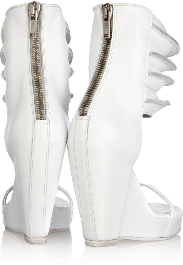 Rick Owens Ribbed leather wedge sandals