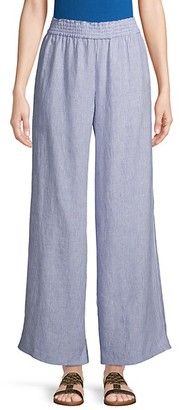 Pure Navy Pinstriped Linen Wide-Leg Pants