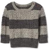 Stripe button aran sweater