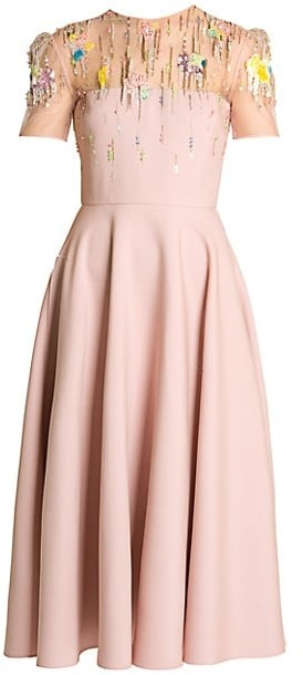 Valentino Embellished Tulle Midi Dress