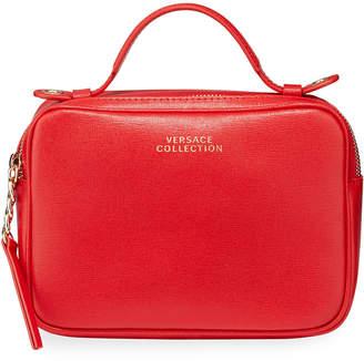 Versace Saffiano Top-Zip Shoulder Bag, Red
