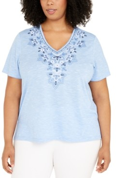 Alfred Dunner Plus Size Petal Pushers Floral Top