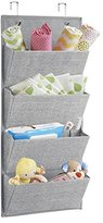 InterDesign Aldo Wall Mount/Over Door Fabric Closet Storage Organizer for Purses, Toys, Baby/Kids Clothing - 4 Pockets, Gray