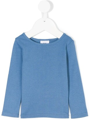 Knot long-sleeved cotton T-shirt