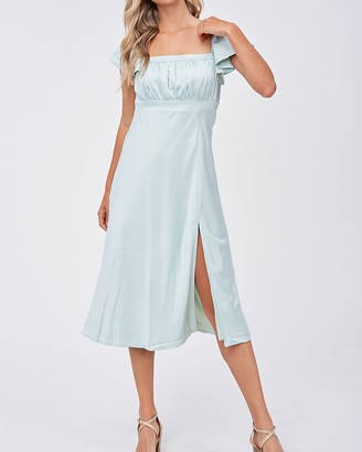 Express Emory Park Square Neck Short Sleeve Midi Dress