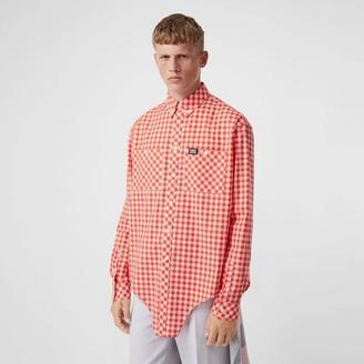 Burberry Cut-out Hem Gingham Cotton Oversized Shirt