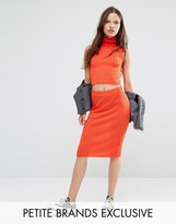 Noisy May Petite Knitted Ribbed Bodycon Skirt