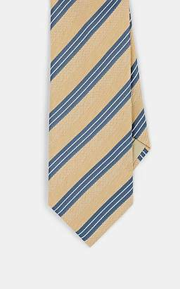 Brioni MEN'S MULTI-STRIPED MIXED-WEAVE SILK NECKTIE - YELLOW