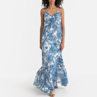 Pepe Jeans Olivia Ruffled Floral Print Maxi Dress with Shoestring Straps