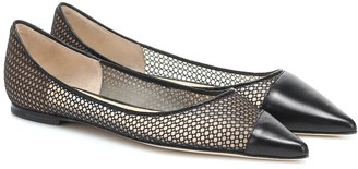 Jimmy Choo Love leather-trimmed mesh ballet flats