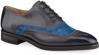 Bally Men's Contrast-Suede Leather Dress Shoes