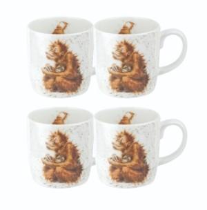 Royal Worcester Wrendale Orangutangle Mug Set/4