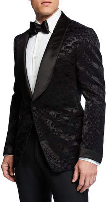 Tom Ford Men's Shelton Snake-Print Velvet Formal Jacket