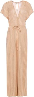 SUNDRESS Sequin-embellished Metallic Gauze Wide-leg Jumpsuit