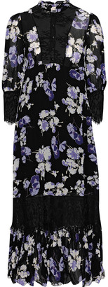By Ti Mo Chantilly Lace-paneled Floral-print Georgette Midi Dress