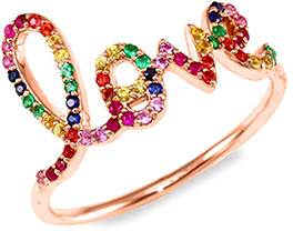 Swarovski Yeidid International Women's Rings - Rainbow & 18k Rose Gold-Plated 'Love' Band With Crystals