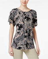 Charter Club Paisley-Print Pleated Top, Created for Macy's